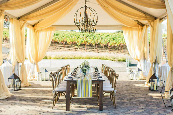 Romantic Napa Valley Wedding Reception Canopy with Industrial Chandelier | Mallory Miya Photography | I