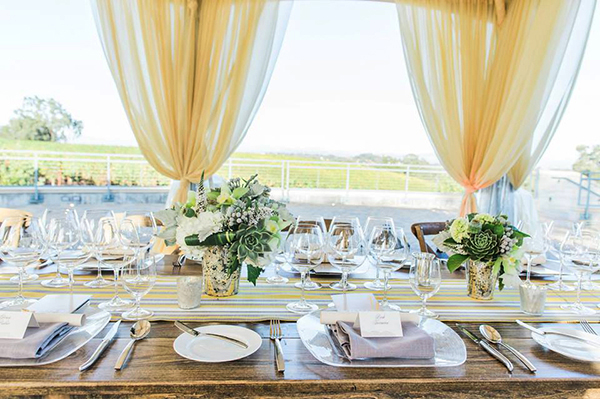 Elegantly Draped Wedding Reception with Yellow Striped Details | Mallory Miya Photography | I