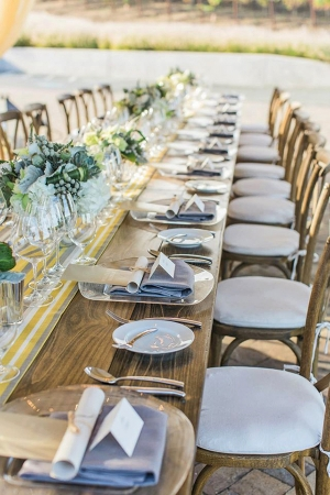 Yellow Striped Table Runner and Neutral Accents for a Napa Valley Wedding | Mallory Miya Photography | I
