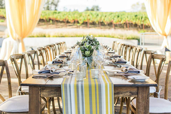 Chic Napa Valley Wedding with Cheerful Striped Table Runners | Mallory Miya Photography | I