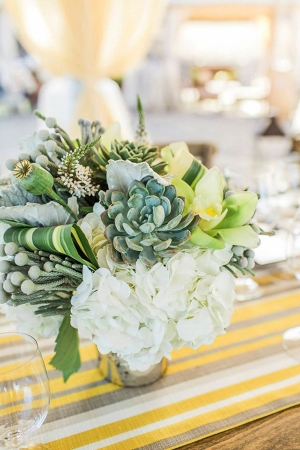 Green and Yellow Succulent Centerpiece | Mallory Miya Photography | I