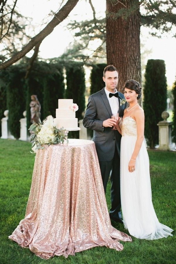 Glam Sparkling Blush Wedding Cake Table | Inkspot Photography | Luxury Linens for any Wedding Budget!