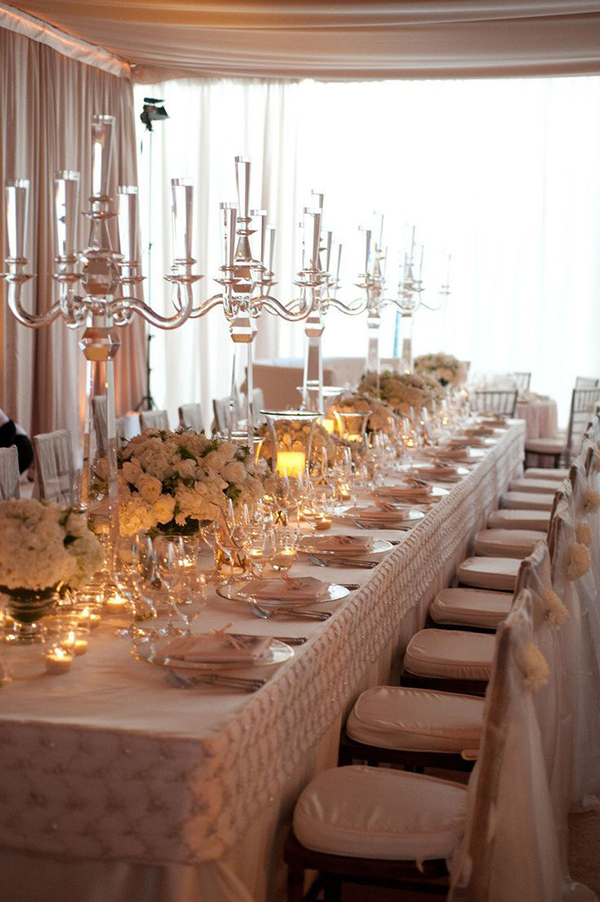 Vintage Inspired Ivory and Gold Wedding Head Table | Sterling Tyler Photography | Luxury Linens for any Wedding Budget!
