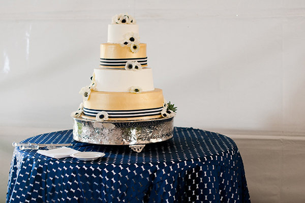 Navy Blue and White Nautical Wedding Cake Table | Limelife Photography | Luxury Linens for any Wedding Budget!