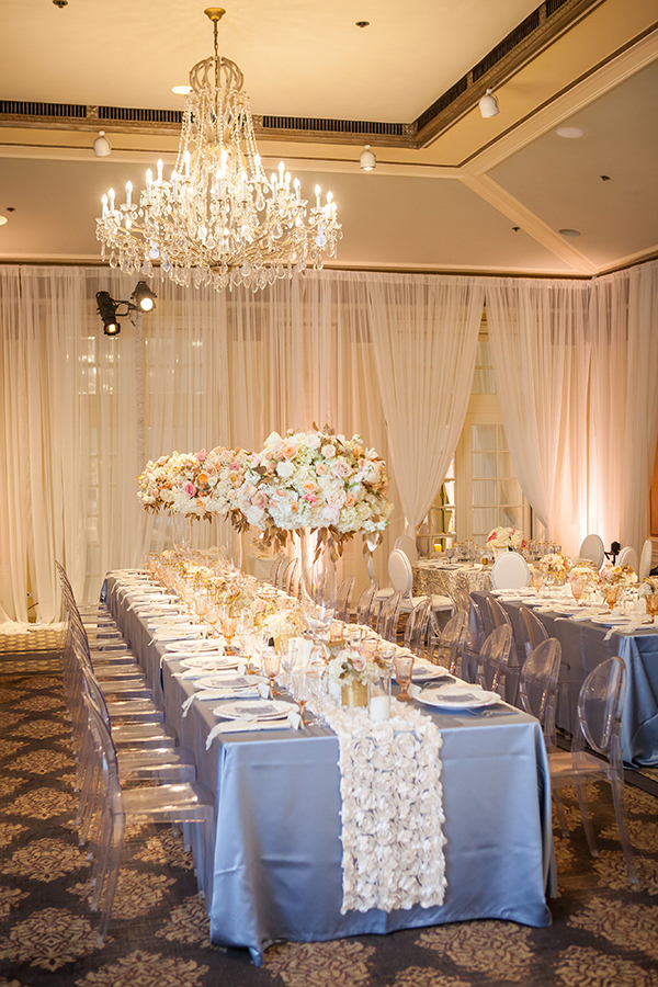 Powder Blue and Ivory Wedding with Floral Table Runners | Colson Griffith Photography | Luxury Linens for any Wedding Budget!