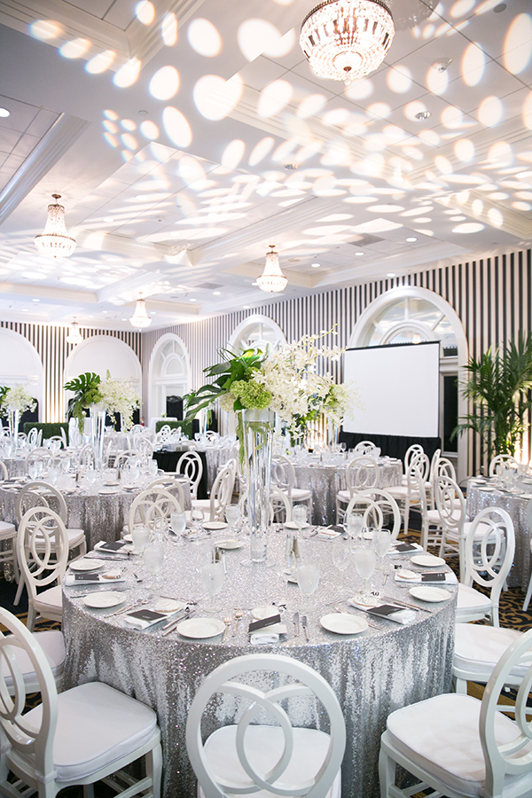 Modern Wedding with Silver Sequin Linens and Black and White Stripes | Gustavo Fernandez Photography | Luxury Linens for any Wedding Budget!
