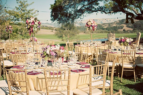 Burgundy and Gold Carmel Valley Wedding | Luxury Linens for any Wedding Budget!