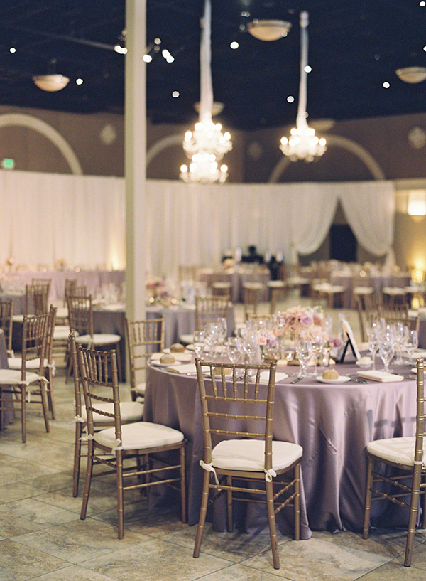 Glamorous Purple Wedding with Crystal Chandeliers | Caroline Tran Photography | Luxury Linens for any Wedding Budget!