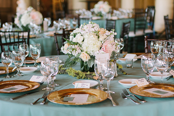 Mint, Blush, and Gold Country Club Wedding | Kim+Phil Photography | Luxury Linens for any Wedding Budget!