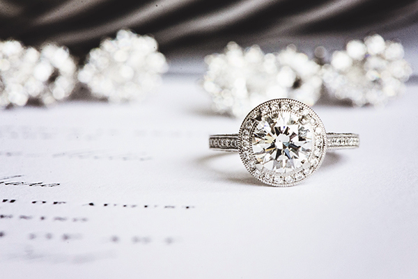 Gorgeous Halo Diamond Engagement Ring | Grace Aston Photography | Glamorous Rooftop Wedding Shoot in New York City