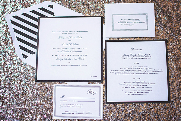 Modern Black and White Stripe Wedding Invitations | Grace Aston Photography | Glamorous Rooftop Wedding Shoot in New York City