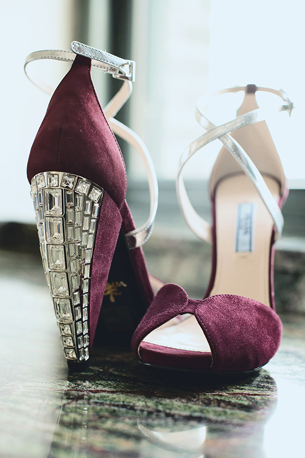 Burgundy Velvet Prada Wedding Shoes with Crystal Heels| Grace Aston Photography | Glamorous Rooftop Wedding Shoot in New York City
