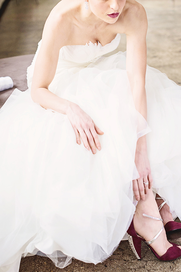 Glam #Marsala Wedding Shoes| Grace Aston Photography | Glamorous Rooftop Wedding Shoot in New York City