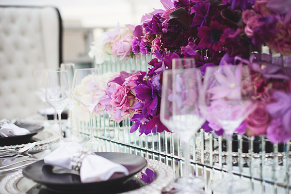 Ombre Purple Centerpieces in Mirrored Vessels| Grace Aston Photography | Glamorous Rooftop Wedding Shoot in New York City