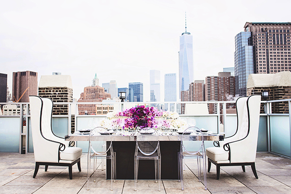 Luxurious Modern Wedding Reception Styling| Grace Aston Photography | Glamorous Rooftop Wedding Shoot in New York City