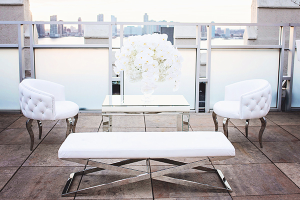 Chic All White Reception Lounge| Grace Aston Photography | Glamorous Rooftop Wedding Shoot in New York City