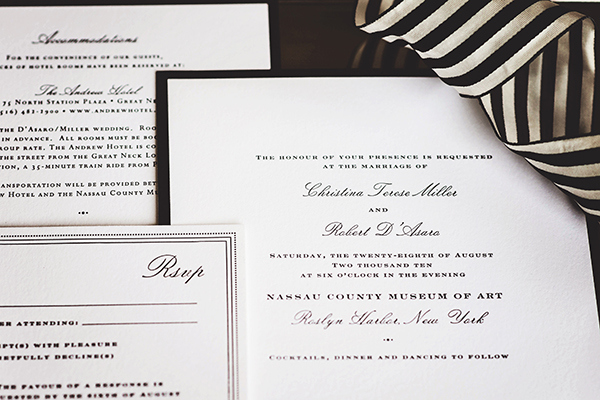 Chic Black and White Striped Wedding Invitations | Grace Aston Photography | Glamorous Rooftop Wedding Shoot in New York City