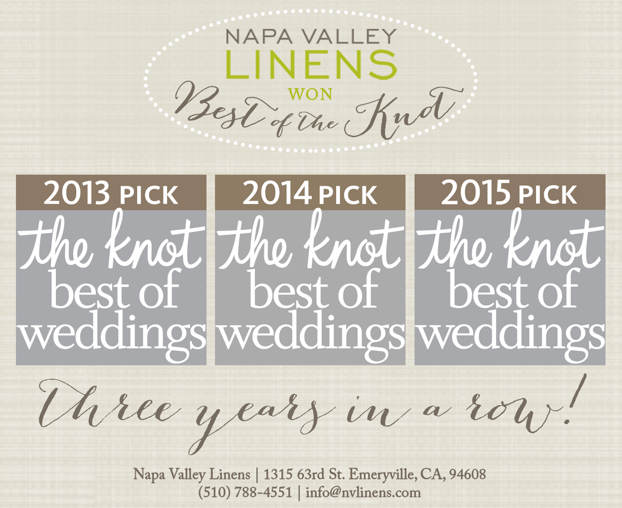 Napa Valley Linens is Voted Best of the Knot for 3 Years in a Row!