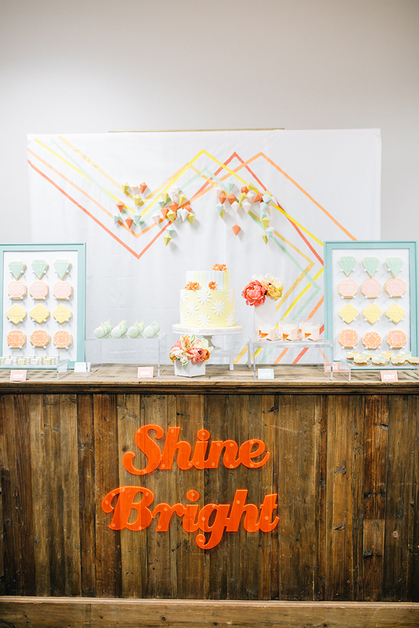 Aqua, Yellow, and Coral Modern Geometric Dessert Display | Photoflood Studios | Partnering with The Sketchbook Series!