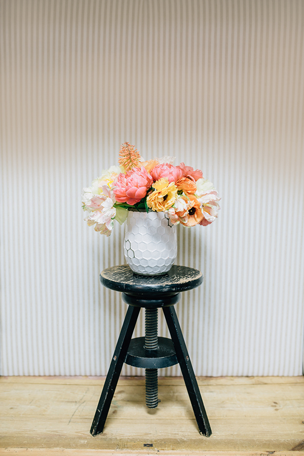 Bright Peony Centerpiece  in a Honeycomb Vase | Photoflood Studios | Partnering with The Sketchbook Series!