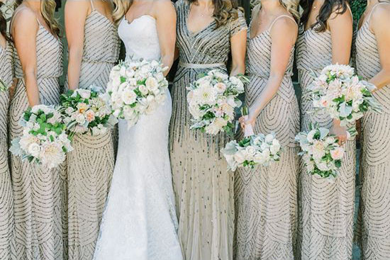 Sparkling Metallic Bridesmaid Dresses | Matt Edge Wedding Photography | French Inspired Wedding at a Wine Country Chateau