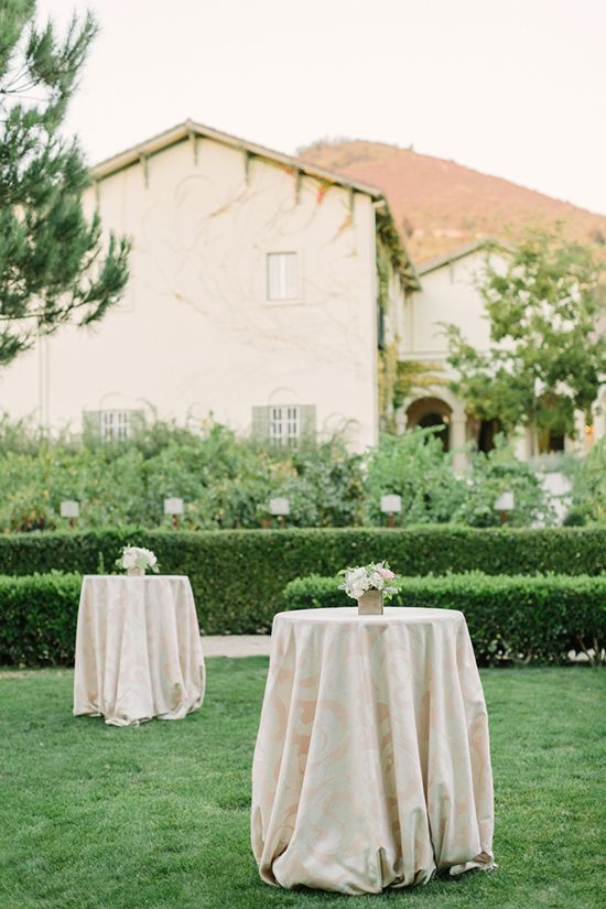 Blush Patterned Linens for Cocktail Hour | Matt Edge Wedding Photography | French Inspired Wedding at a Wine Country Chateau