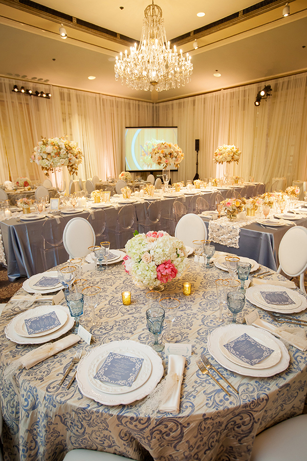 Crystal Chandeliers and Damask Print for a Paris Glam Reception | Colson Griffith Photography | French Chic at the San Francisco NACE Gala 2014!