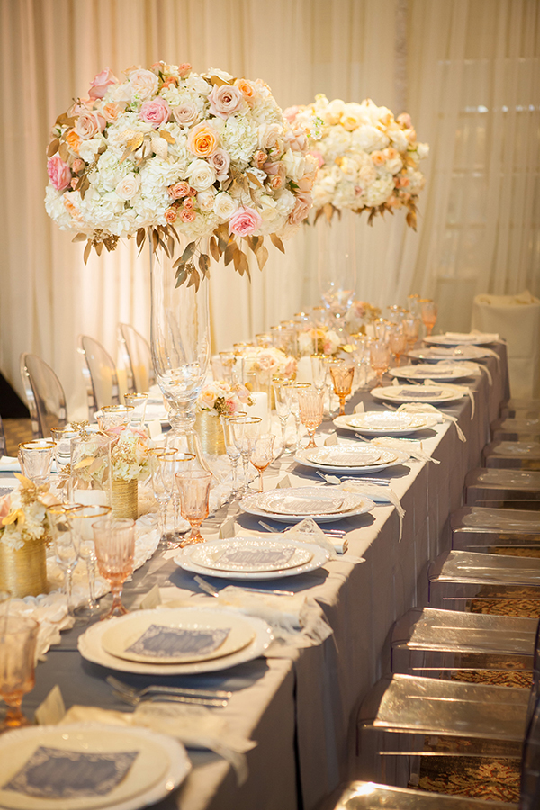 Ivory, Blush, and Gold Table Decor | Colson Griffith Photography | French Chic at the San Francisco NACE Gala 2014!