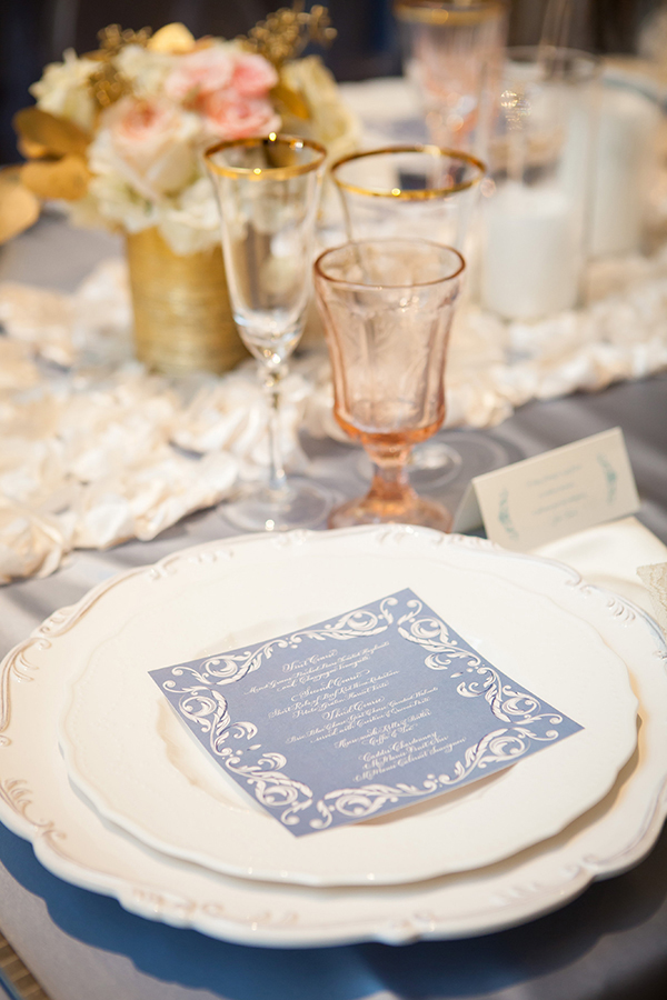 Pink Vintage Glassware with Ivory and Gold Place Settings | Colson Griffith Photography | French Chic at the San Francisco NACE Gala 2014!