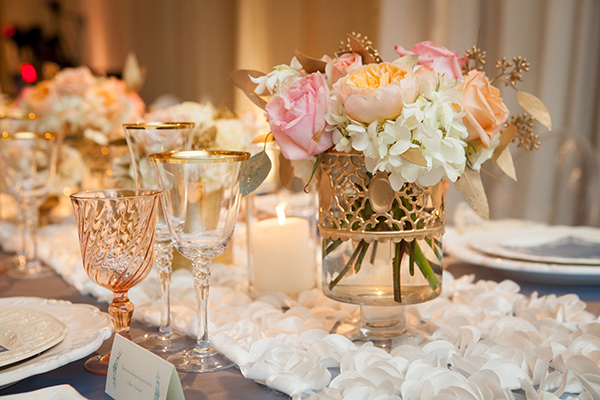 Lush Pastel and Gold Centerpieces on Peony Ivory Table Runners | Colson Griffith Photography | French Chic at the San Francisco NACE Gala 2014!