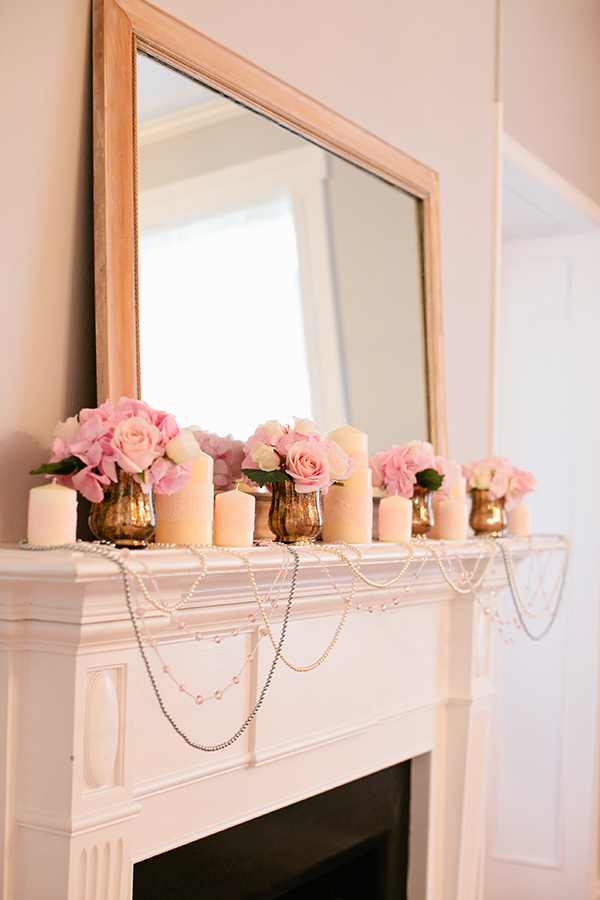 Blush, White, and Gold Mantel Decor for a Fireside Ceremony | Gladys Jem Photography and Charmed Events Group | A Charming Blush Valentines Day Elopement