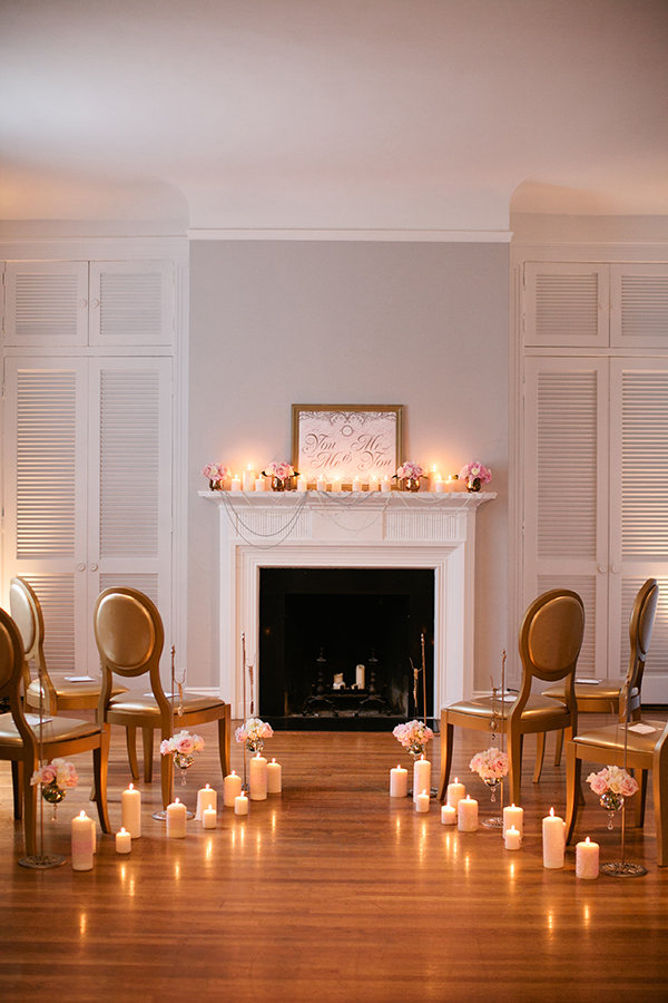 A Fireside Ceremony with an Aisle Lined with Candles | Gladys Jem Photography and Charmed Events Group | A Charming Blush Valentines Day Elopement