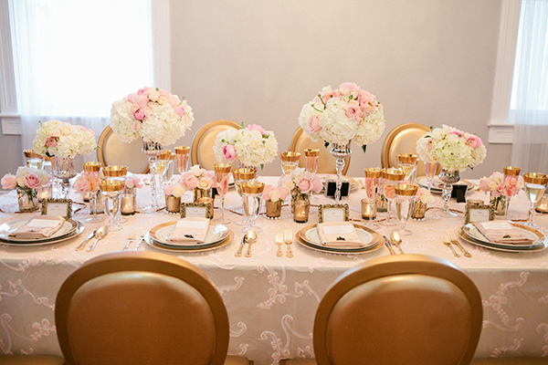 Elegant Blush, White, and Pink Head Table | Gladys Jem Photography and Charmed Events Group | A Charming Blush Valentines Day Elopement