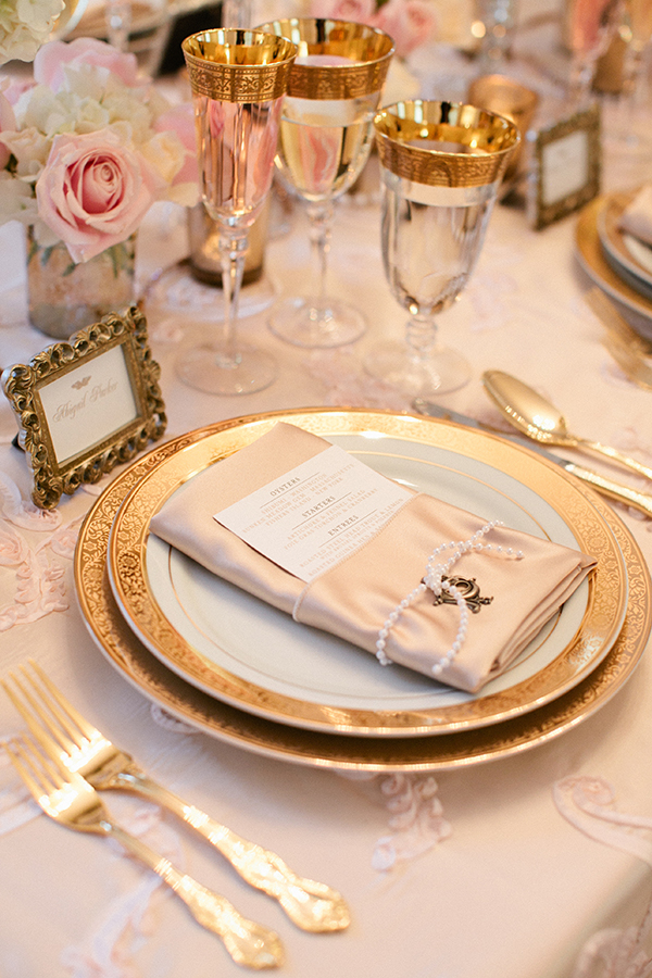Gold Patterned Place Setting | Gladys Jem Photography and Charmed Events Group | A Charming Blush Valentines Day Elopement