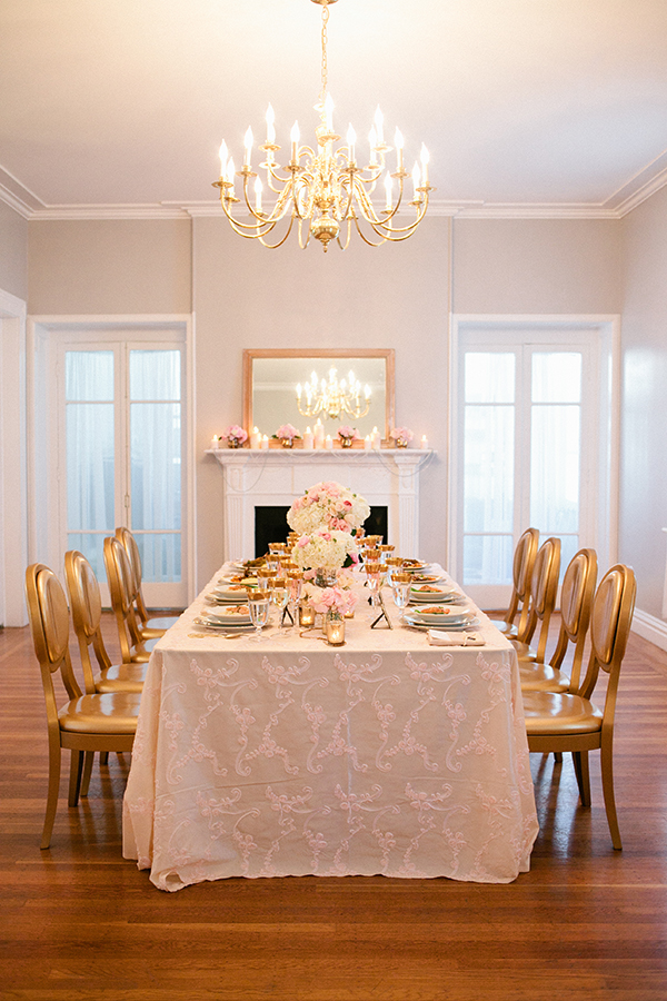 Elegant Manor Wedding Reception in Blush, White, and Gold | Gladys Jem Photography and Charmed Events Group | A Charming Blush Valentines Day Elopement