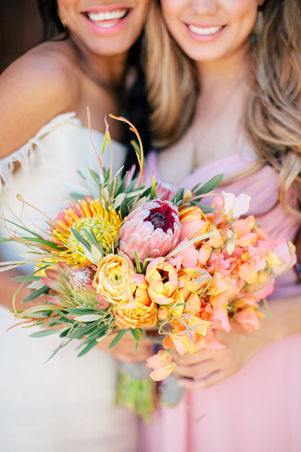 Tulip, Sweet Pea, and Protea Bouquet | Clane Gessel Photography and Creative Flow Company | Colorful Southwestern Wedding Inspiration at Wente Vineyards