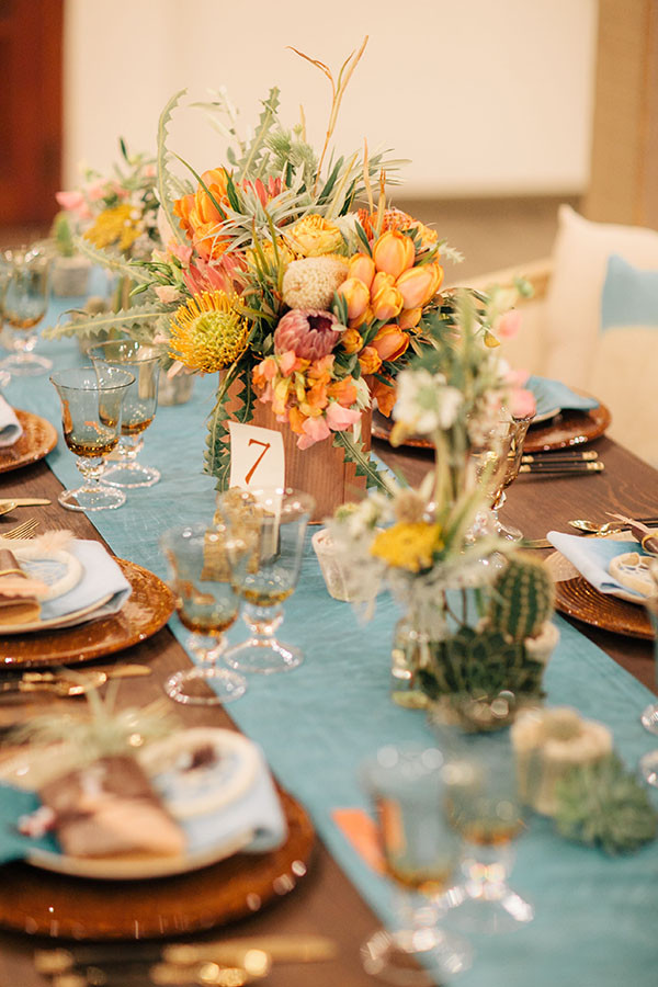 Copper and Cacti Centerpieces on an Aqua Silk Table RunnerNeutral Bridesmaids from a John Singer Sargent inspired editorial by Lisa O