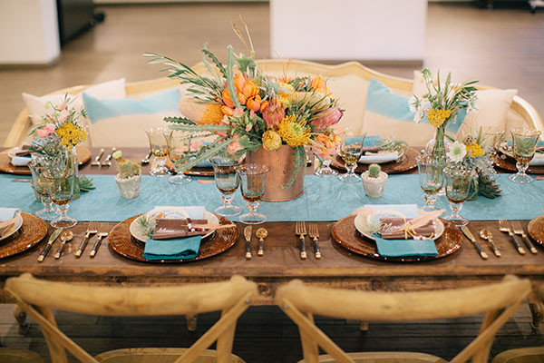 Rich Rustic Table Decor in Copper and AquaNeutral Bridesmaids from a John Singer Sargent inspired editorial by Lisa O