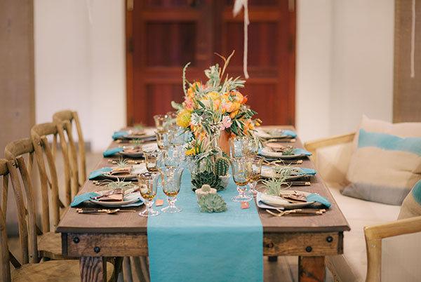 Rustic Farm Table with Pops of Aqua and Copper