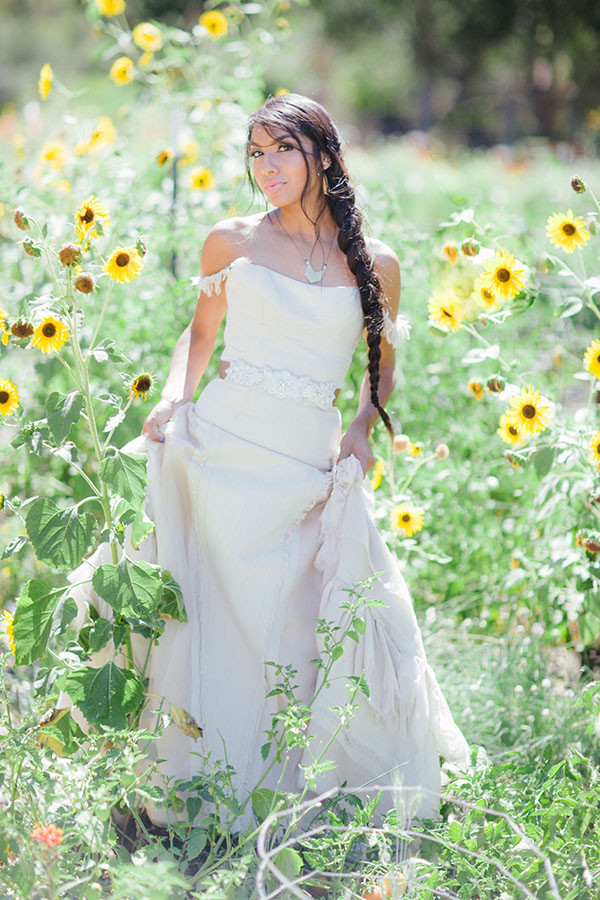 Southwestern Inspired Bride among SunflowersNeutral Bridesmaids from aJohn Singer Sargentinspired editorial byLisa O