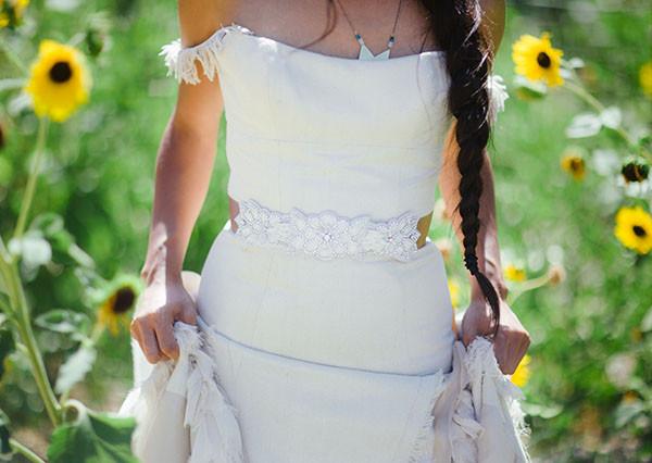 Floral Beaded Wedding Dress SashNeutral Bridesmaids from aJohn Singer Sargentinspired editorial byLisa O