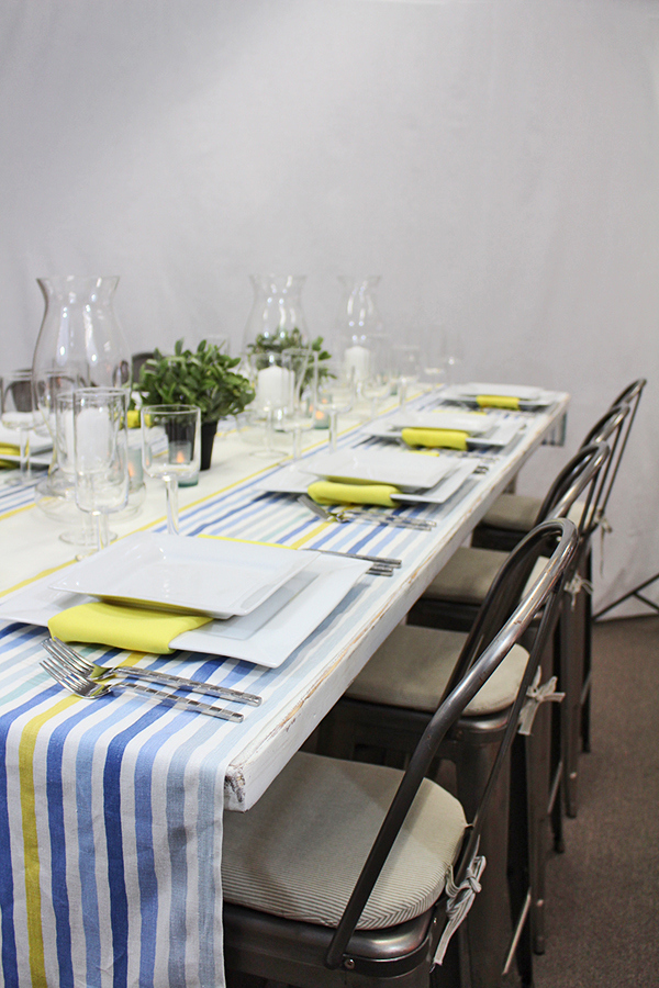 Industrial Modern Table with Striped Runners | @heyweddinglady for @nvlinens | Pastels and Prints for our Spring Showroom Decor!