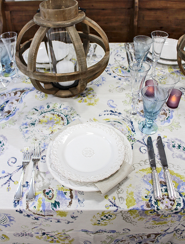 Rustic Modern Place Setting with Patterned Linens in Blue, Purple, and Green | @heyweddinglady for @nvlinens | Pastels and Prints for our Spring Showroom Decor!