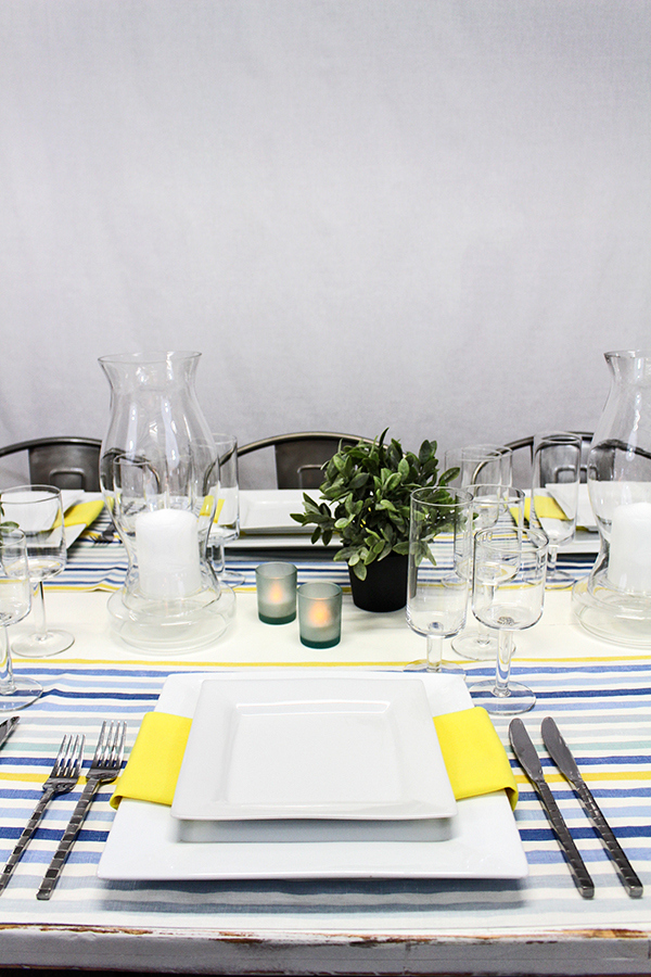 Industrial Modern Table Decor with Striped Runners and Frosted Votives | @heyweddinglady for @nvlinens | Pastels and Prints for our Spring Showroom Decor!