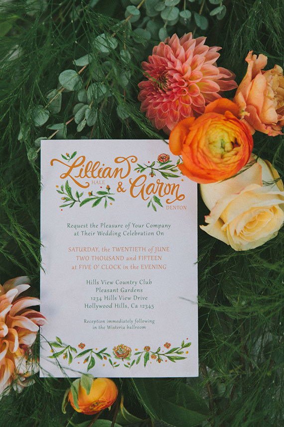Orange and Yellow Watercolor Floral Invitation | Fondly Forever Photography and Summer Newman Events | A Citrus Summer Wedding in Southern California
