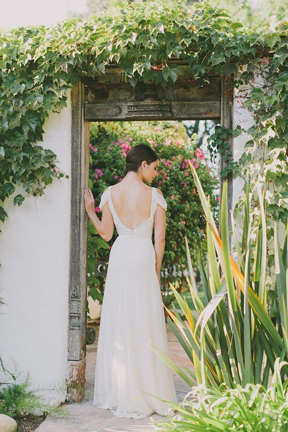 Elegant Low Back Wedding Dress | Fondly Forever Photography and Summer Newman Events | A Citrus Summer Wedding in Southern California