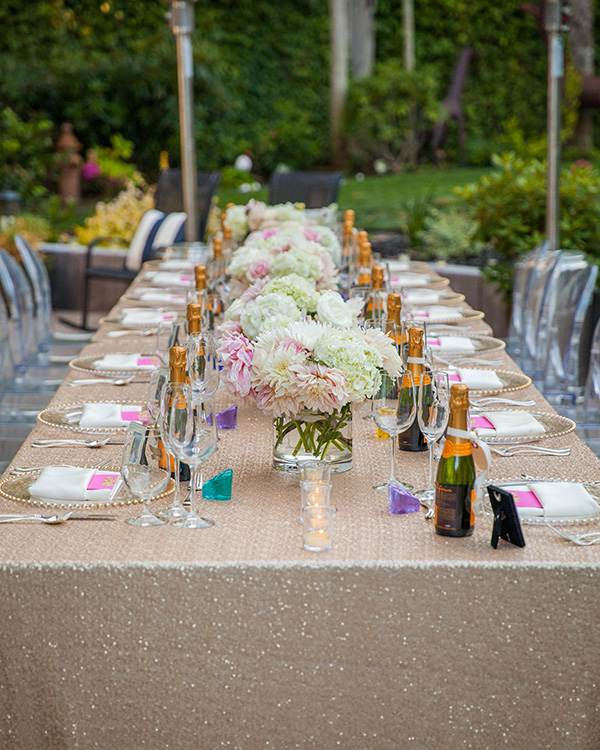 Champagne Sequins and Blush Flowers with Modern Ghost Chairs | Rachel Capil Photography and Lindsay Lauren Events | Styling a Glam Engagement Party in your Backyard!