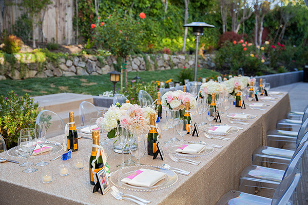 Matte Gold Sequin Linens from @nvlinens with Blush Flowers and Clear Ghost Chairs | Rachel Capil Photography and Lindsay Lauren Events | Styling a Glam Engagement Party in your Backyard!