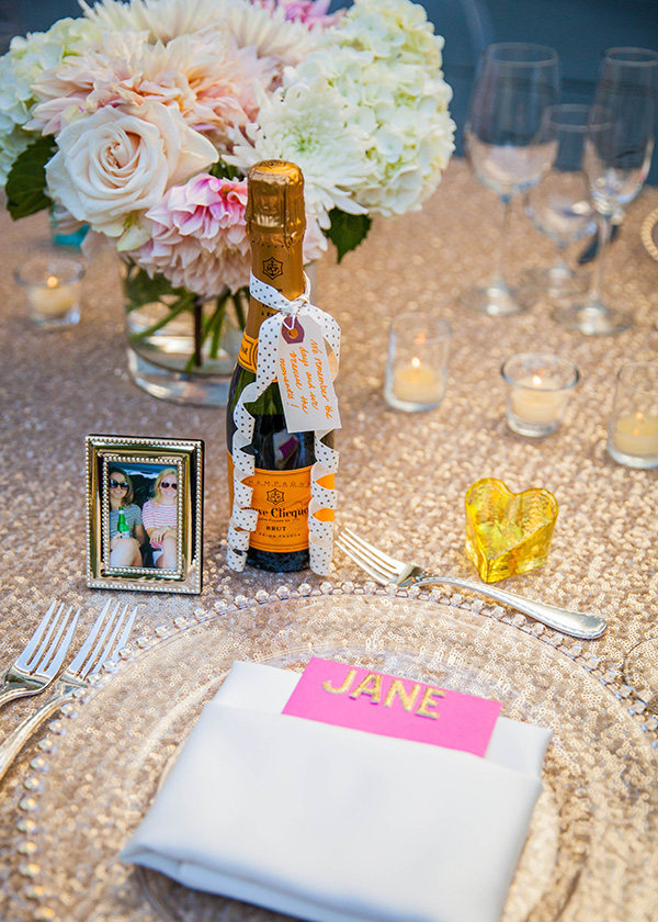 Bottles of Champagne at each Place Setting | Rachel Capil Photography and Lindsay Lauren Events | Styling a Glam Engagement Party in your Backyard!