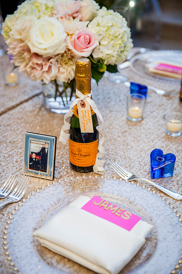 Petite Champagne Bottles as Favors | Rachel Capil Photography and Lindsay Lauren Events | Styling a Glam Engagement Party in your Backyard!